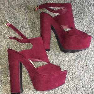 red velvet platform heels